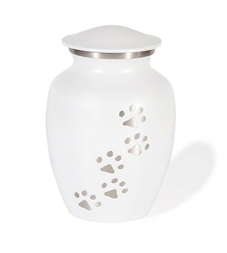 Classic Series Pet Cremation Urn (X-Large, Cloud White Vertical Pewter Paws) by Best Friend Services