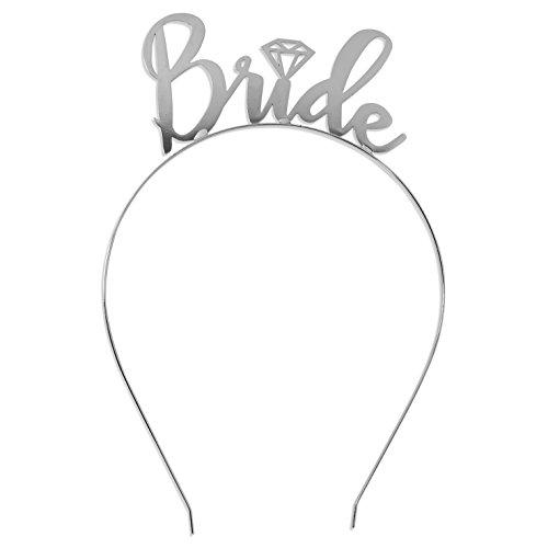 Bride Tiara Headband Silver - Bridal Shower Bride To Be Headpiece HdBd(Bride) SLV - Bachelorette Party Tiara