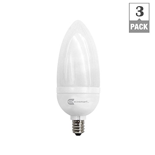 EcoSmart 40W Equivalent Soft White (2700K) B10 Candelabra CFL (3-Pack)
