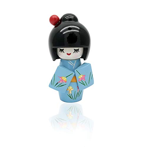 XMHF Wooden Japanese Style Kimono Kokeshi Doll Desk Ornament ()