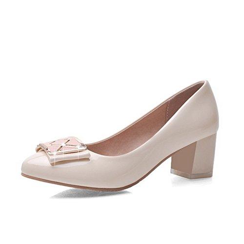 AgooLar Damen Rein Lackleder Mittler Absatz Ziehen auf Rund Zehe Pumps Schuhe Cremefarben