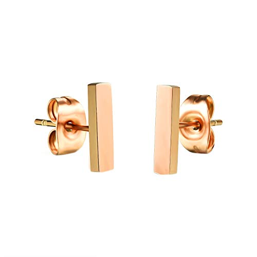 Stainless Steel Rose Gold Plated Geometric Stud Earrings For Women Girls (Rectangle, Square, Triangle, Star, Heart) ()