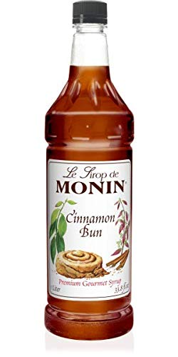 Monin - Cinnamon Bun Syrup, Smooth and Sweet Cinnamon Flavor, Great for Frozen Coffees, Cocoas, Cocktails, Vegan, Non-GMO, Gluten-Free (1 Liter) ()