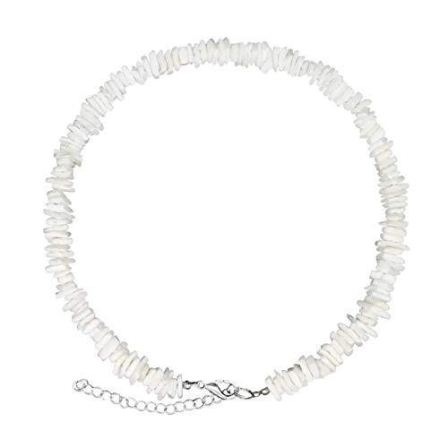 ASELFAD Puka Chip Shell Necklace Adjustable Hawaiian Beach Natural Seashell Choker Necklace for Women Men Girls Boys