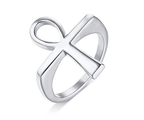 MPRAINBOW Ankh Cross Stainless Steel Ring Men Women,Religious Gift Birthday Gift