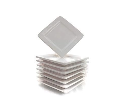 Appetizer Ceramic - Small White Square Party Ceramic Plates Two Sets of 4 Bundle