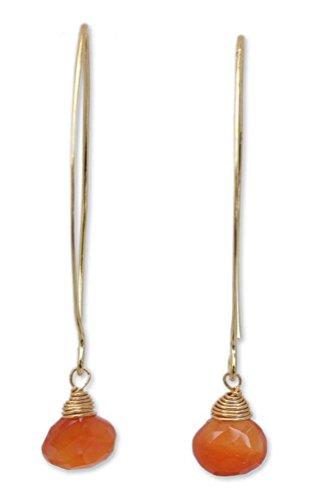 NOVICA Carnelian 24k Yellow Gold Plated .925 Silver Dangle Earrings 'Breath of Love'