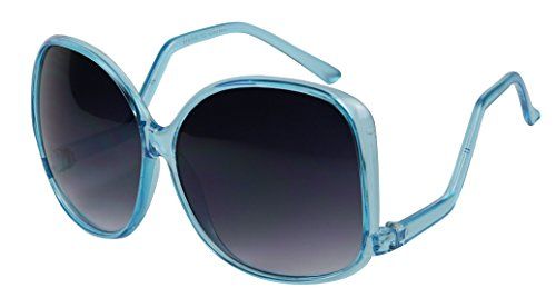 Basik Eyewear - Oversized Square Temple Drop Women's Fashion Sunglasses (Sky Blue, 140) (Biker Chick Costumes)