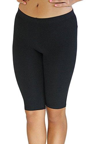 Vivian's Fashions Legging Shorts - Biker Length, Misses Size (Black, 1X)