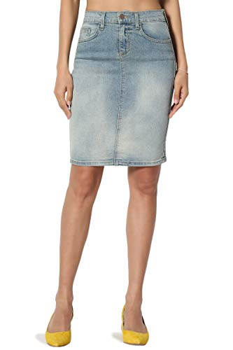 TheMogan Women's Mid Rise Back Slit Pencil Above Knee Short Denim Skirt Light 0