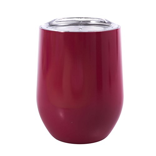 Chige Stainless Steel Wine Tumbler, 9 oz Stemless Wine Glasses with Lid, Vacuum Double-insulated Heat Preservation Cup for Red Wine, Cocktail, Liqueurs and Nonalcoholic Beverages (Rose red, 9 OZ)
