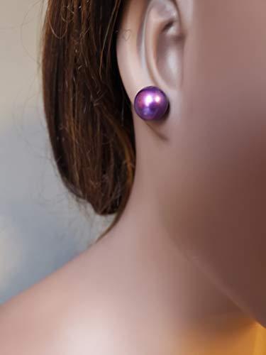 genuine Freshwater pearl large purple stud earring. 12mm pearl earring.
