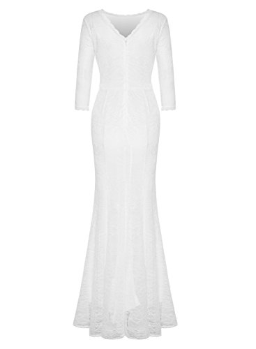 MABELER Women's Retro Floral Lace 2/3 Sleeve Wedding Party Bridesmaid Long Dress