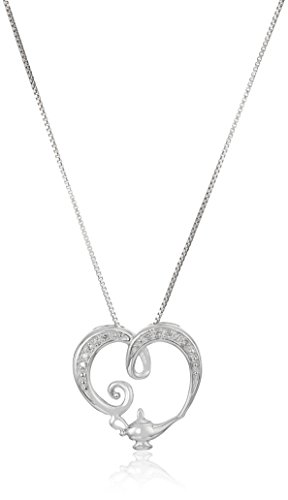 Disney Sterling Silver Diamond Open Heart with Genie Lamp...