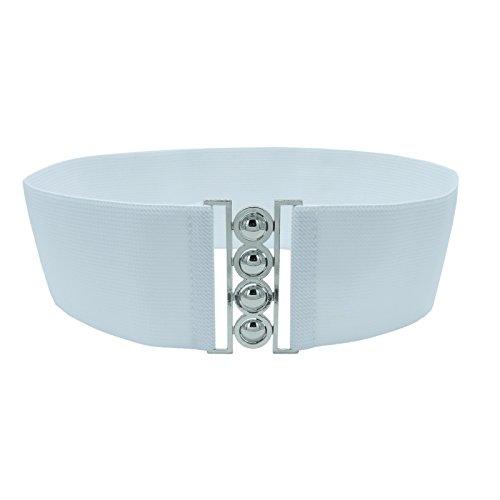 [Cleyton Women 3 Inch Wide Fashion Metal Buckle Stretch Elastic Waist Belt Cinch Waistband (Medium(30-34inch), White+Silver)] (Buckle Cinch Belt)