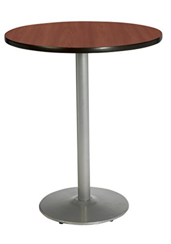 Dark Mahogany Top - KFI Seating Round Bar Height Pedestal Table with Round Silver Base, Commercial Grade, 36-Inch, Dark Mahogany Laminate, Made in the USA
