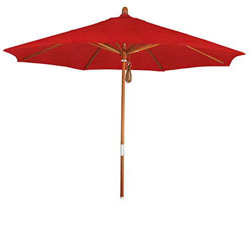 (Eclipse Collection 9' Wood Market Umbrella Pulley Open Marenti Wood/Sunbrella/Elan Scarlett)