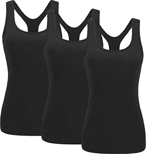 (TELALEO Tank Tops for Women, Womens V-Shape Workout Tank Tops Clothes for Women Yoga Basic Running 3 Pack-3Black-M)