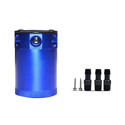 HsgbvictS Oil Catch Can Engines & Components Bottle Universal Car Billet Aluminium Compact Baffled Oil Catch Can Bottle Tank Kit - Blue