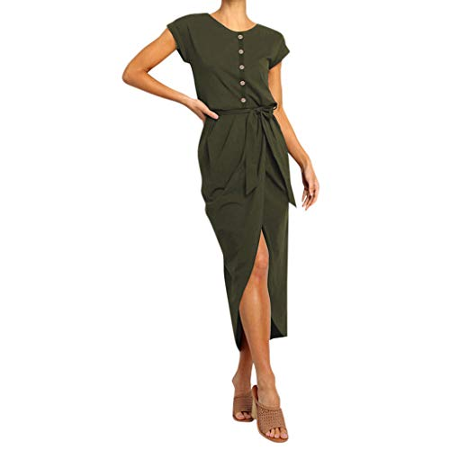 LIM&Shop  Summer Shirt Dress Short Sleeve Casual Top Side Split Pencil Dress Button Up O-Neck Maxi Dress Waist Belted Army - Snap Belted