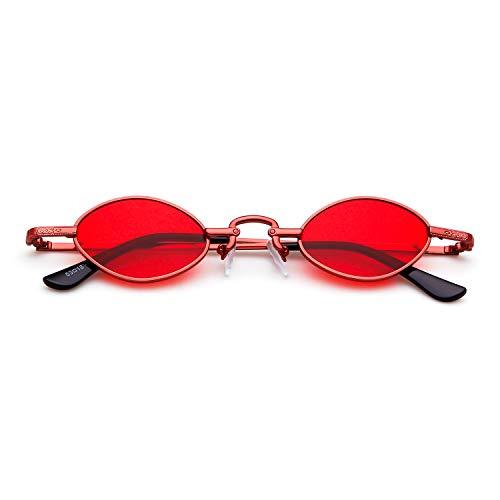 Hommes Pour Femmes Petites Glasses Lunettes Adewu Vintage Ovales lentille cadre De Soleil Ovale Retro Rouge Hvwz8qA