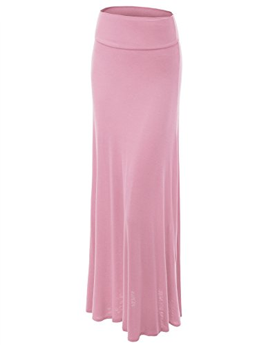 (Made By Johnny WB670 Womens Fold-Over Maxi Skirt XXXL Pink)