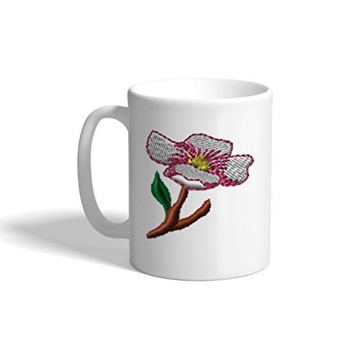 Ceramic Funny Coffee Mug Coffee Cup Apple Blossom White Tea Cup 11 Ounces (Apple Coffee Blossom)
