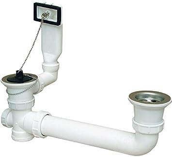 Doppel Sifon Überlauf Ablaufgarnitur Spülen Ablauf Siphon Größen verstellbar A22