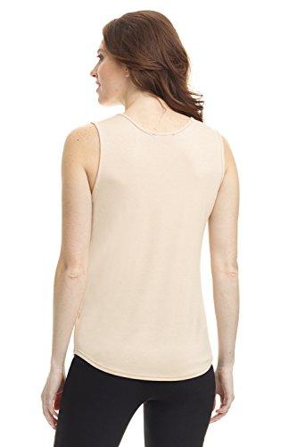 Camiseta sin mangas de punto jersey suave de mujer Rekucci (S-XXL) New Tan