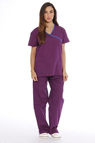 11148W Just Love Women's Scrub Sets / Medical Scrubs / Nursing Scrubs - XS, Eggplant with Royal Blue Trim