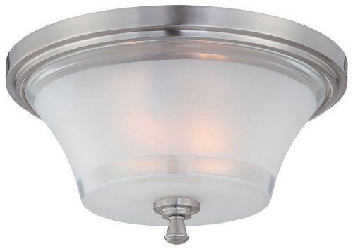 Lite Source LS-5731 Flush Mount with Frosted Glass Shades, Steel Finish