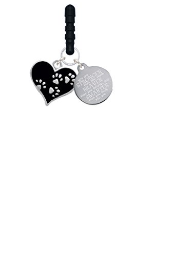 Black Enamel Heart with Paw Prints Stronger Braver Smarter Phone Charm