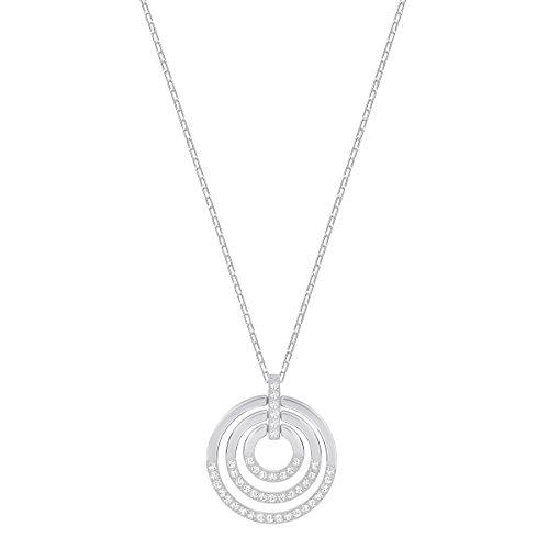 Swarovski Crystal Medium White Rhodium-Plated Circle Pendant Necklace ()