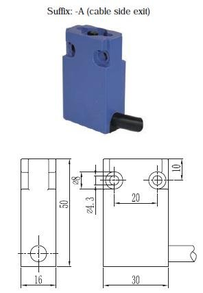 Suns International SN3111-SP-A1 SN31 Series 1NO/1NC Boot Plunger 1 Meter Side Exit Cable Compact Limit Switch - 1 Item(s)