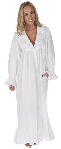 The 1 for U 100% Cotton Nightgown/Robe with Pockets - Amelia- XXS - XXXL (XL) White