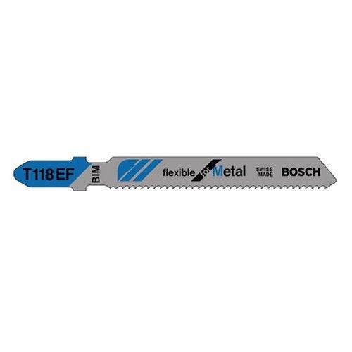 Bosch T118EF 5-Piece 3-5/8 In. 11-18 TPI Flexible for Metal T-Shank Jig Saw Blades (Blades Metal T-shank)