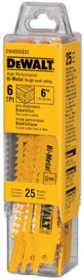 Dewalt Accessories DW4811B25 Bi-Metal Reciprocating Saw Blade, 18 TPI, 6-In. - Quantity 25