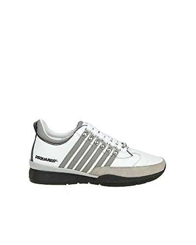 In Snm01011157m182 Uomo Dsquared2 Bianca Pelle Sneakers fCqAPvwz