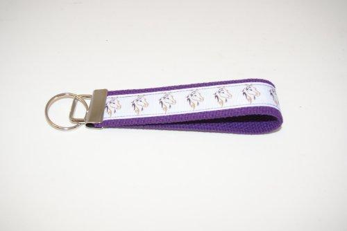Wristlet Key Fob 5 Inch White Horses Purple