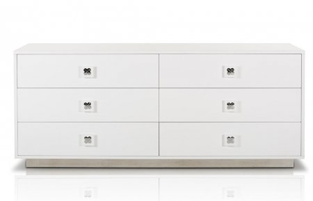 VIG Furniture VGUNAW421-159 A&X Monica 63'' Dresser with 6 Drawers Stainless Steel Handles and Base in White Glossy by VIG Furniture