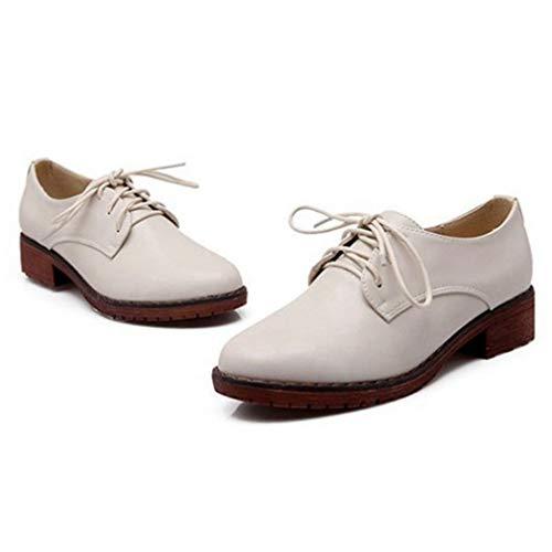 Classic Brogues up Brown Heel Platform Lace Oxford Shoes white Wingtip Vintage Women's Low GIY Beige Dress Oxfords 5PUBBq