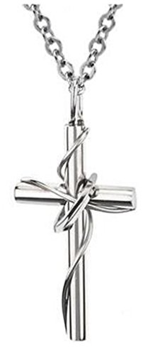 JSDY Stainless Steel Silver Twine Ring Cross Pendant Necklace Couples Jewelry Men