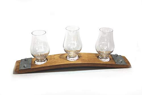 (Premium Barrel Stave Whiskey Flight, Scotch Flight, Bourbon Flight, Crystal Glencairn Glass Flight (Natural))