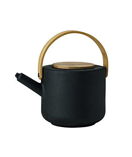 Stelton Theo Tea Pot, Stoneware, Iron with Bamboo, Black/Brown, 1.25 L, x-630