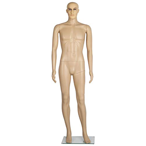 Yaheetech 72in Adjustable Detachable Plastic Full Body Adult Male Mannequin Dress Form w/Base