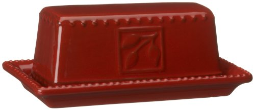 Signature Housewares Sorrento Collection Butter Dish, Ruby Antiqued Finish (Red Rectangular Platter Cake)