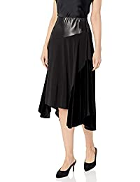 Women's Midi Skirt with Faux Leather