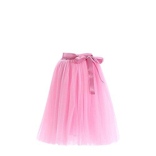 SaiDeng Femme Rtro Style Anne 50 Vintage Jupon Longue En Tulle Elastique Rockabilly Petticoat Tutu Pink