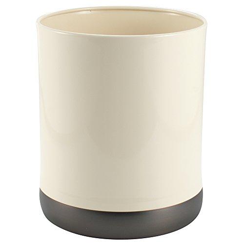 Ivory Wastebasket (InterDesign Ashley Wastebasket Trash Can, Ivory/Bronze)