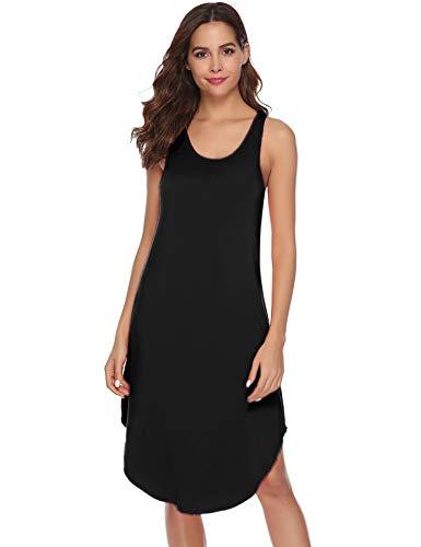 (Aibrou Women's Cotton Nightgown Sleeveless Racerback Nightshirt Dress Sleepwear (Black, Large))